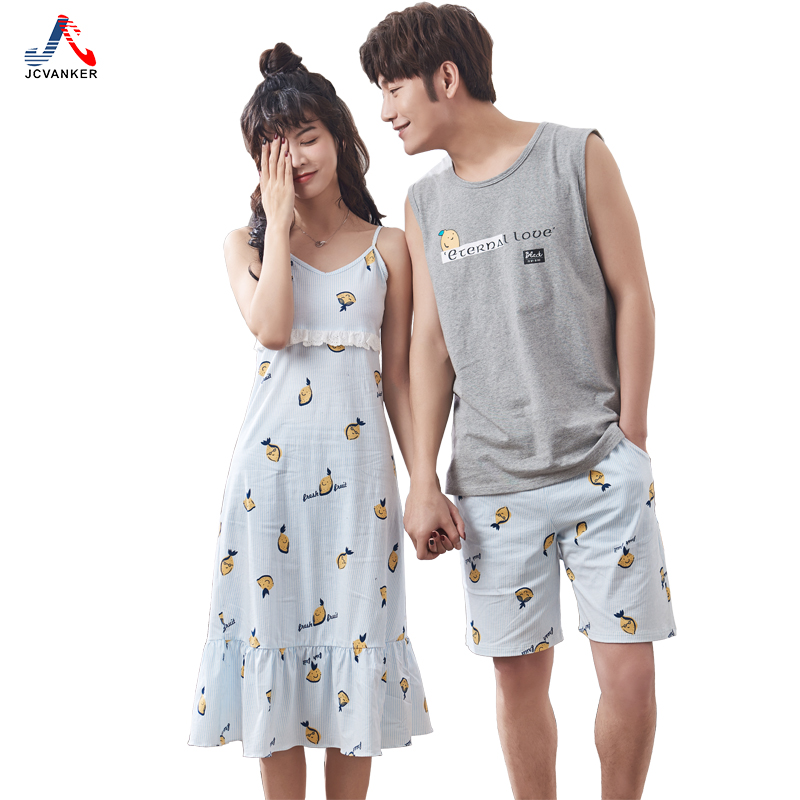 JCVANKER High Quality Fabric Couples Pyjama Suit For Women Man Sleeveless Sleeve Cool Su ...