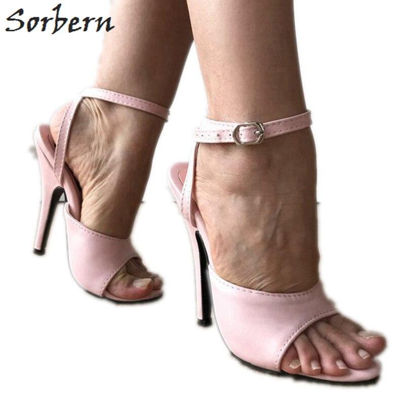 0abdf9d2c39 Sorbern Light Pink Ankle Strap Women Sandals Slingback Summer Shoes ...