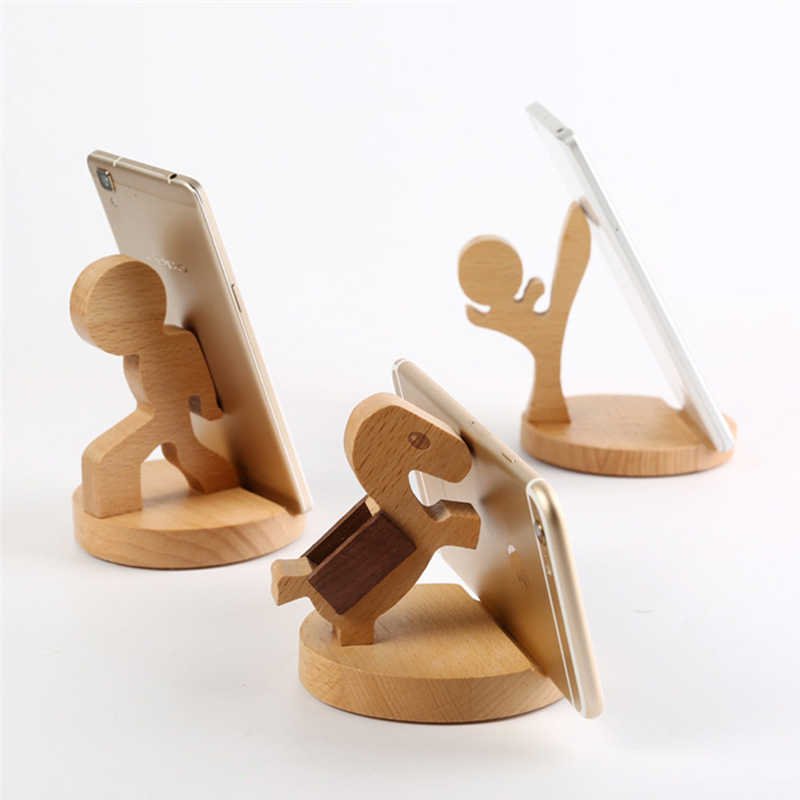 Universal Unique Wooden Kufung Style Cellphone Holder Stand Bracket For iPhone For Samsung For XiaoMi Smart Phones Portable