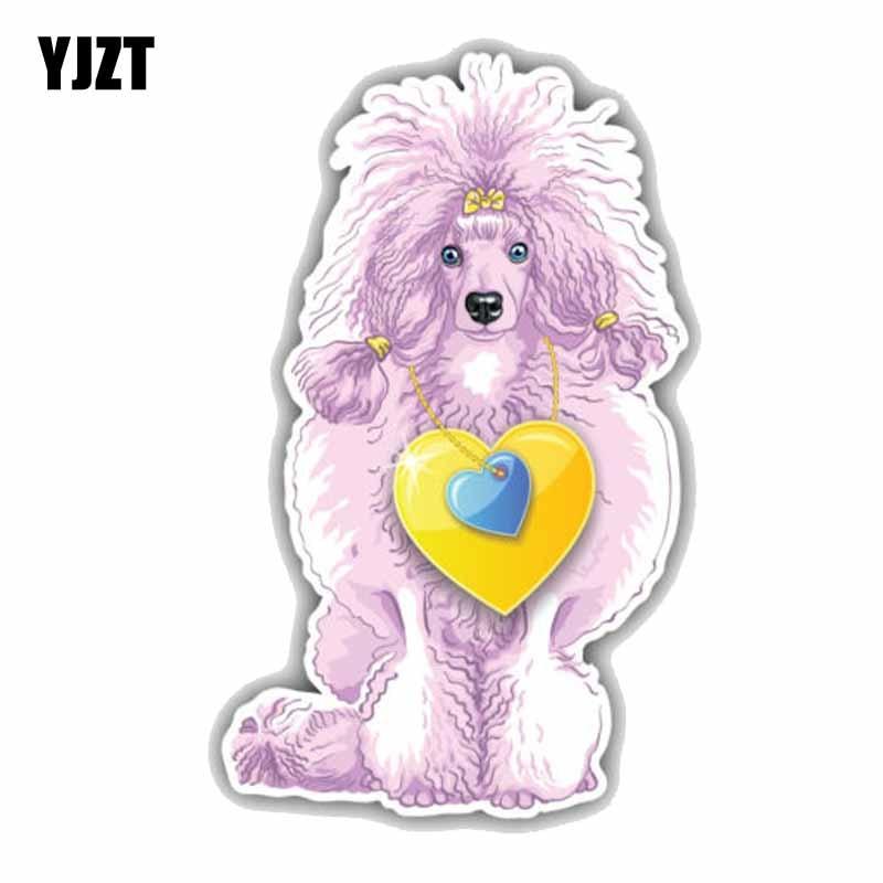 YJZT 8CMx13CM Poodle Dog Car Decoration Bumper Fashion Sticker Decal C1-9010