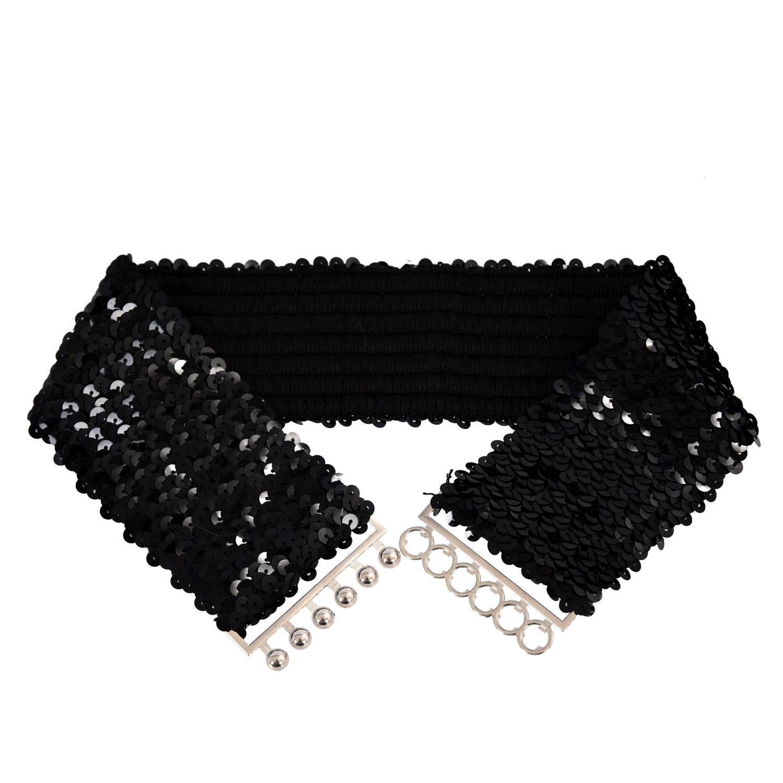SYB 2016 NEW Black Slim Fashion Sequins Elastic Stretch Shining Waist Band Casual Belt