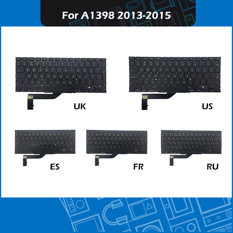 New Laptop Replacement Keyboard UK US Russian French Spanish Layout For font b Macbook b font