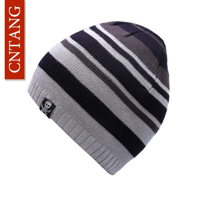 CNTANG 2018 Mens Winter Warm Hat Stripe Acrylic Skullies Beanies Fashion Skull Knitted Hats Bonnet Caps For Men Autumn Cap