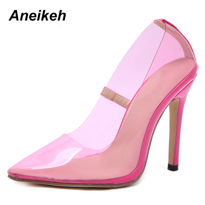 Aneikeh Clear PVC Transparent Pumps Perspex Heel Stilettos High Heels Point Toes Womens Party Shoes Nightclub Pump Basic Pink basic pump