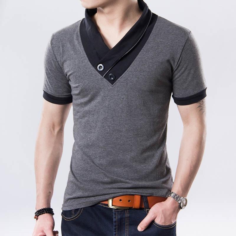 Fashion V-neck Summer Men Polo Shirt Patchwork Short Sleeve Polo Shirt Men Plus Size M-5XL Casual Cotton tee shirt homme
