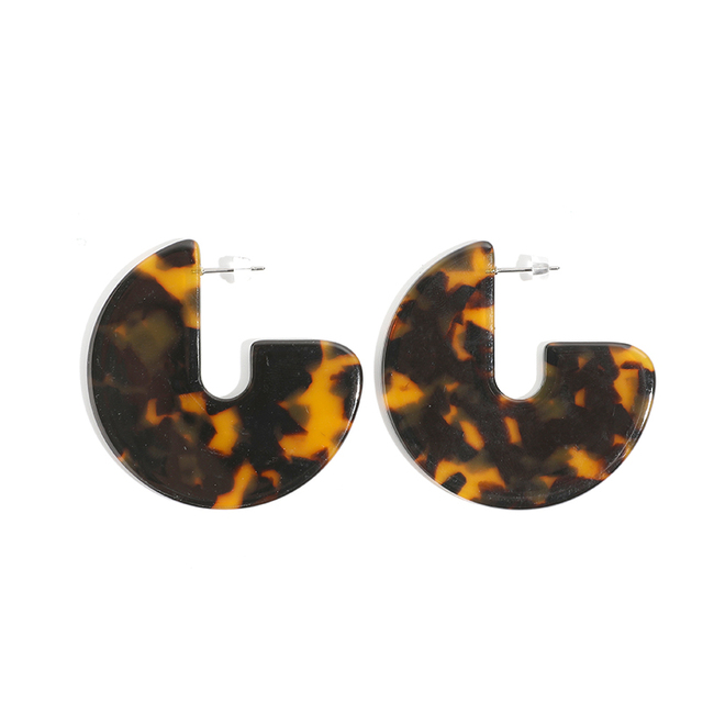 Leopard Acrylic Large Round Earrings