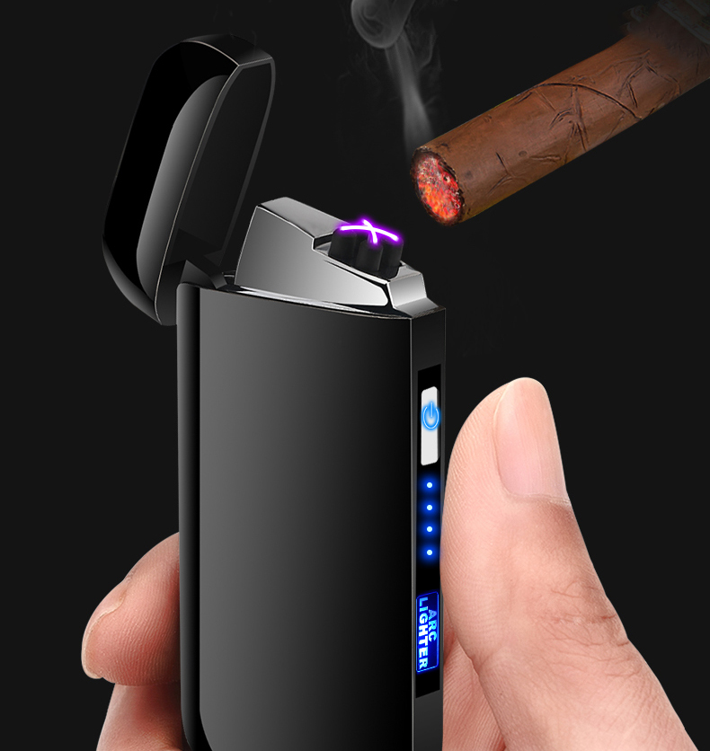 Image 3 - Dual Arc Cigar Palse Touch Sensing Windproof Plasma Thunder Lighter USB Lighter Rechargeable Electronic Lighter Power Display-in Cigarette Accessories from Home & Garden