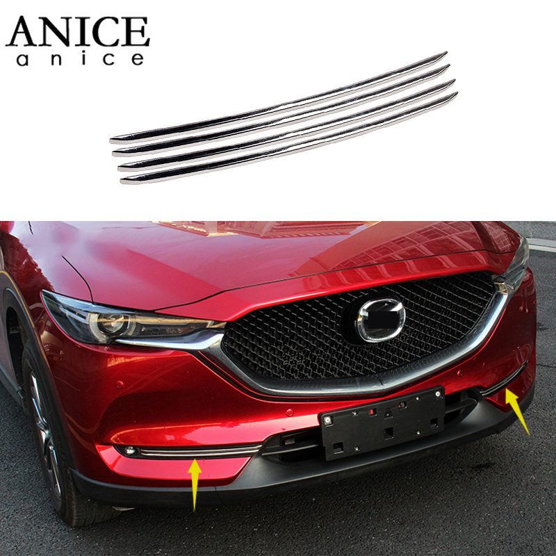 For <font><b>Mazda</b></font> Cx-5 <font><b>Cx5</b></font> 2017 2018 Stainless steel Front Head <font><b>Fog</b></font> <font><b>Light</b></font> Lamp <font><b>Cover</b></font> Trim Molding 4pcs image