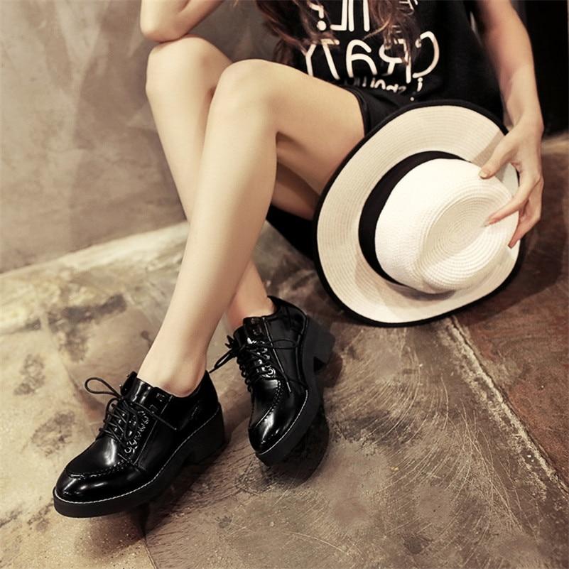spillo vernice alto Lace tacco Tacco Up scarpe Donna piattaforma 2018 Roma pelle a nero Donna Fedonas in di Décolleté Casual Fashion wn8ZXqv1f