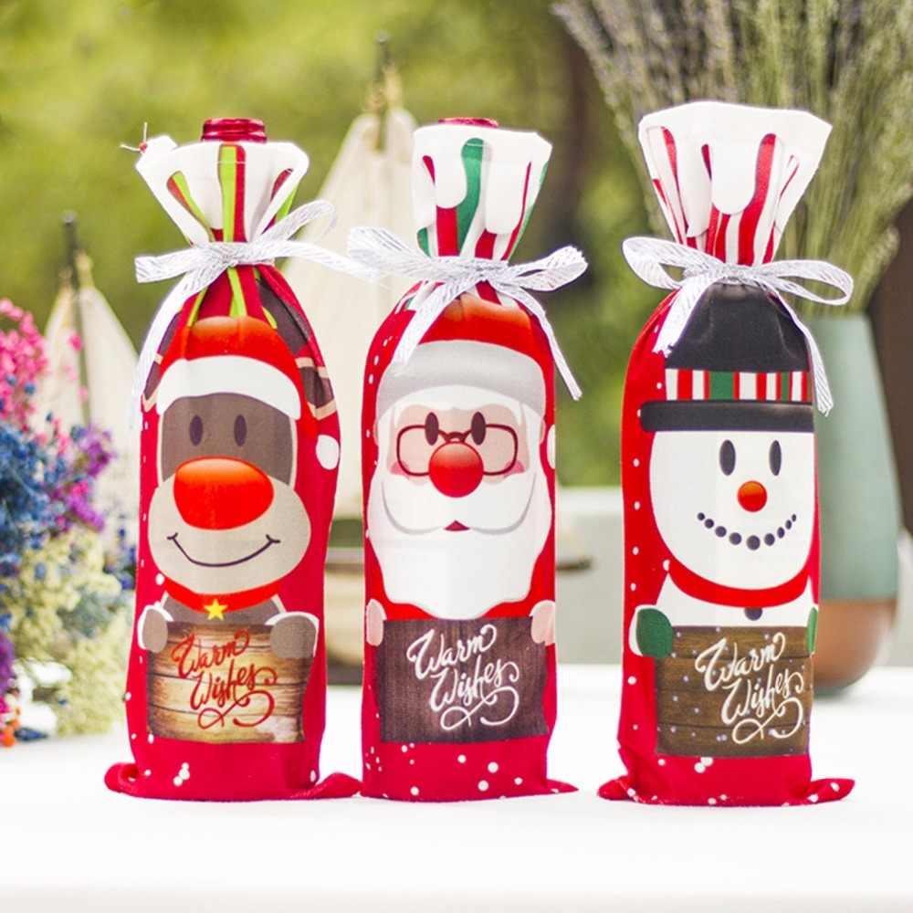 ZOTOONE ozdoby choinkowe do domu święty mikołaj pokrowiec na termofor do skarpeta prezentowa z bałwanem posiadacze Xmas dekoracja świąteczna nowy rok D