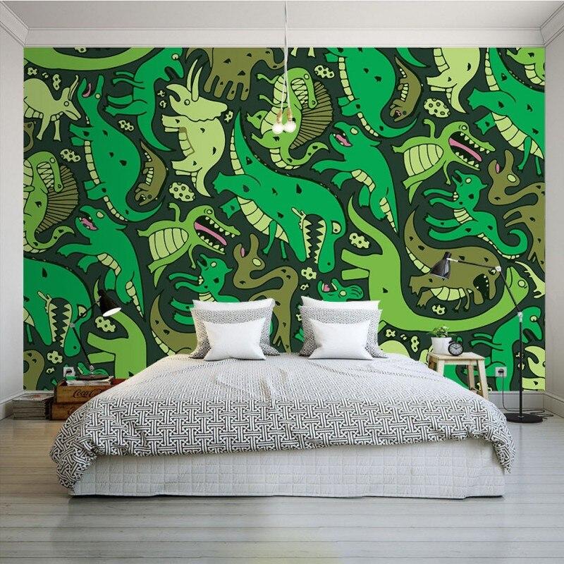 Custom 3d wallpaper  Modern children cartoon green dinosaur wallpaper Restaurant bedroom decorative mural wallpaper