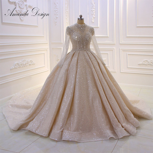Amanda Design High Neck Long Sleeve Luxury Crystal Beading Shiny See Through Wedding Dress