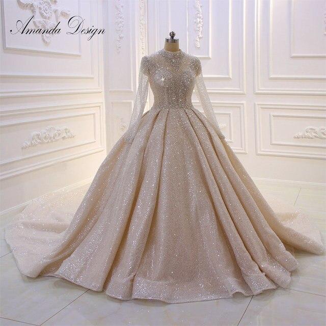 Amanda การออกแบบคอยาวแขนยาวหรูหราคริสตัลประดับด้วยลูกปัดเงาดูผ่านงานแต่งงานชุด