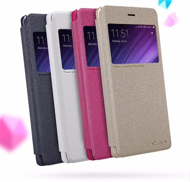 super popular cb8ad 1de30 US $7.69 30% OFF|redmi 4 pro case 5.0 inch NILLKIN flip cover PU leather  with view window for xiaomi redmi 4 pro prime case cover free shipping-in  ...