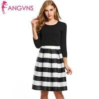 ANGVNS Women Work Dress 2017 New Spring High Waist Striped Print Casual Knee Length Elegant Party