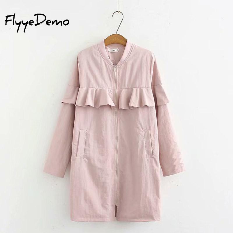 Casual Long   Trench   Coat For Women Autumn 2018 Fashion Ruffle Long Sleeve Coat Zipper Pleated   Trench   Coats Women Plus Size 5XL