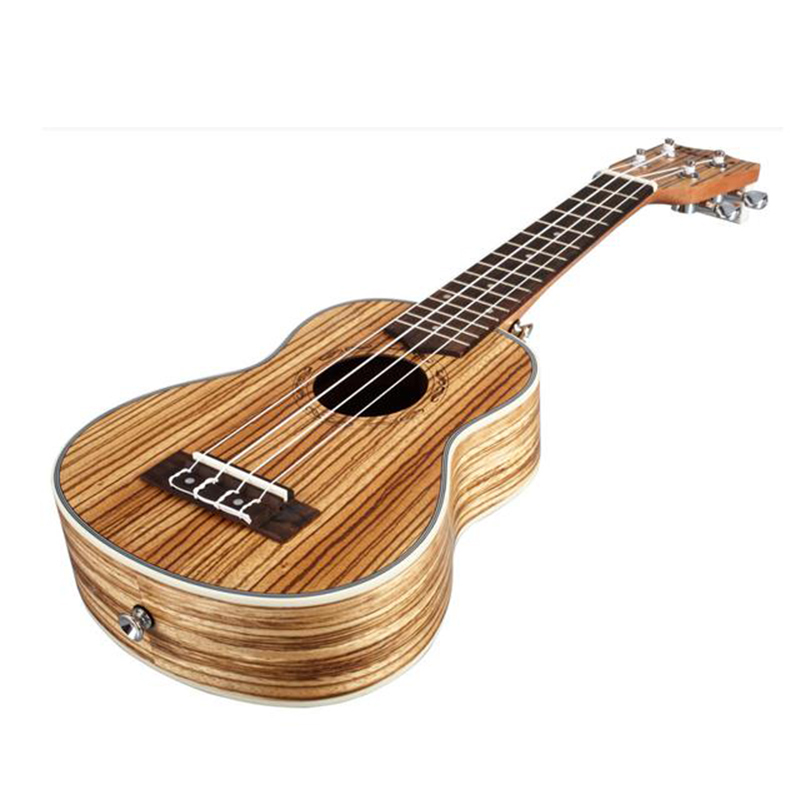 21 Ukulele Guitar Acoustic Ukelele Zebrawood 15 Fret 4 Strings Hawaiian Guitar Ukulele Musical Stringed Instrument + Gig Bag