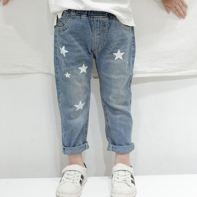 HE Hello Enjoy Toddler Boy Jeans Autumn Print Stars Boy Clothes Denim Pants Elastic Waist Children Trousers Kids Jeans Girls