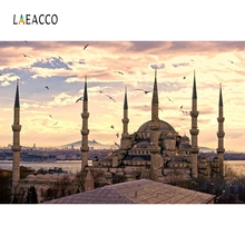Laeacco mosquée musulmane paysage Architecture Portrait scène photographie fond vinyle photographie Studio toile de fond mur