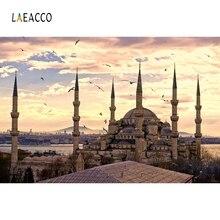 Laeacco มุสลิมมัสยิดภูมิทัศน์สถาปัตยกรรมภาพฉากถ่ายภาพพื้นหลังการถ่ายภาพไวนิล Photo Studio ฉากหลังผนัง