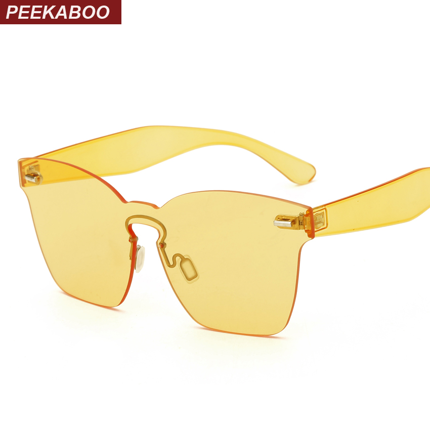 Peekaboo 2017 cool cheap sunglasses in one piece for party orange pink rimless sun glasses for men and women plastic uv400