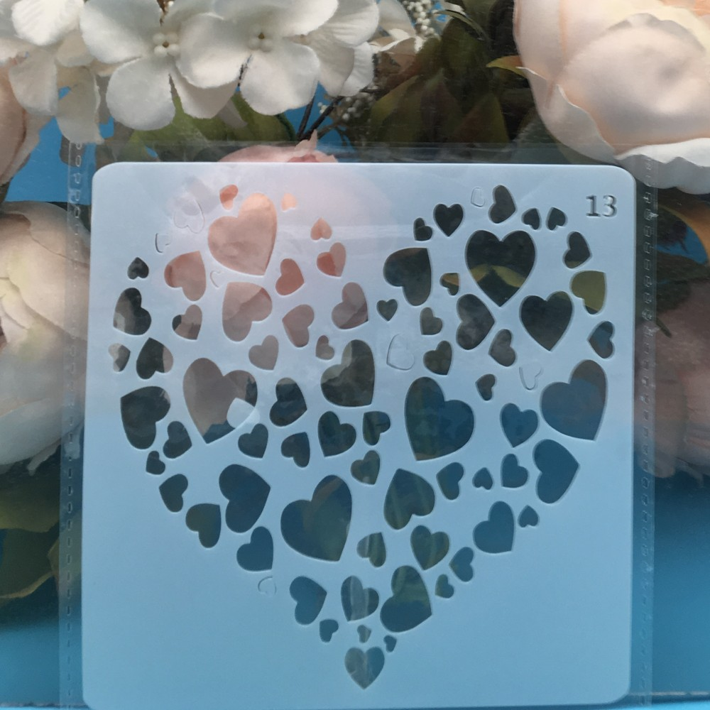 13cm Heart In Heart DIY Layering Stencils Wall Painting Scrapbook Coloring Embossing Album Decorative Card Template