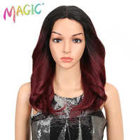 MAGIE Haar 150% Dichte Ombre Lose Haar Synthetische Spitze Perücken 18 Lose Wellenförmige Synthetische Spitze Front Perücken Für Schwarz frauen