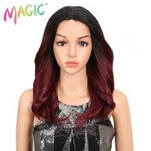 "MAGIE Haar 150% Dichte Ombre Lose Haar Synthetische Spitze Perücken 18 ""Lose Wellenförmige Synthetische Spitze Front Perücken Für Schwarz frauen"