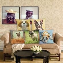 Hot sale  animal lovely Bulldog cotton linen throw pillows Sofa Cushion Cover Home decor 45X45cm cojines decorativos para sofa