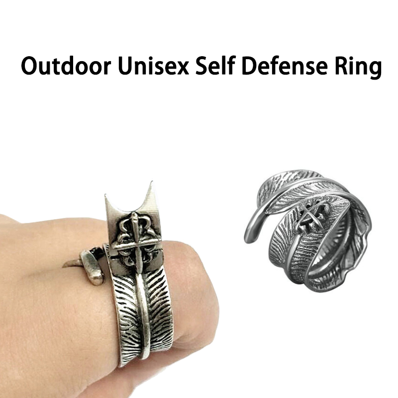 Outdoor Unisex Adult Self Defense Ring With Spike Women Anti-wolf Multifunction Invisibility Self-defense Tool