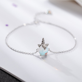 Silver Simple Moonstone Unicorn Bracelets
