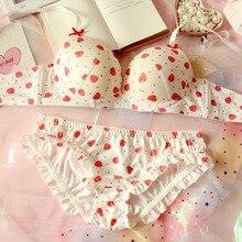 달콤한 로리타 여자의 귀여운 딸기 인쇄 브래지어 & 팬티 란제리 세트 일본 여자는 underwire 브래지어 팬티 세트 속옷을 밀어