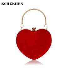De moda de Lujo Bolsos de Las Mujeres Bolsos de Las Señoras Diseñador de Terciopelo en Forma de Corazón Bolso de La Novia Rojo de Noche para Las Mujeres