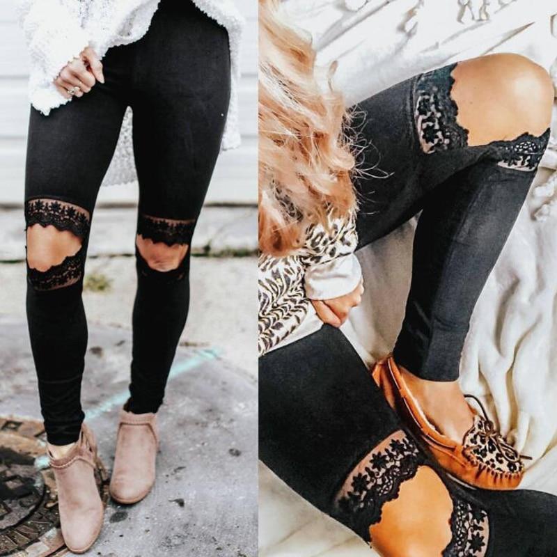 Pantalones casuales con agujero en la rodilla de encaje ajustado y Sexy para mujer