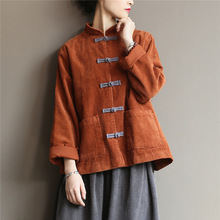 Johnature Women Corduroy Shirts Blouses Vintage Chinese Style Tops 2020 Autumn New Solid Color Button Loose High Quality Shirts