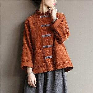 Image 1 - Johnature kobiety sztruks koszule bluzki w stylu Vintage chiński styl topy 2020 jesień nowy Solid Color przycisk luźna, wysoka wysokiej jakości koszule