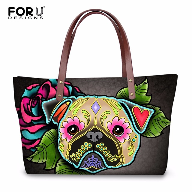 bcc8aae858 FORUDESIGNS Casual Women Tote Beach Bags 3D Day of the Dead French Bulldog  Printed Female Cross Body Bags Fashion Shopping Bags