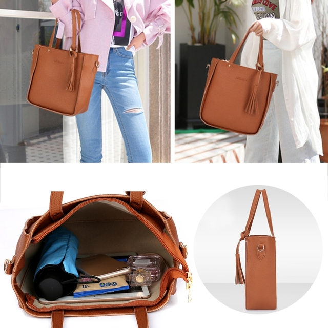 Thinkthendo 4 pçs feminina senhora moda bolsa de ombro tote bolsa mensageiro satchel conjunto 4
