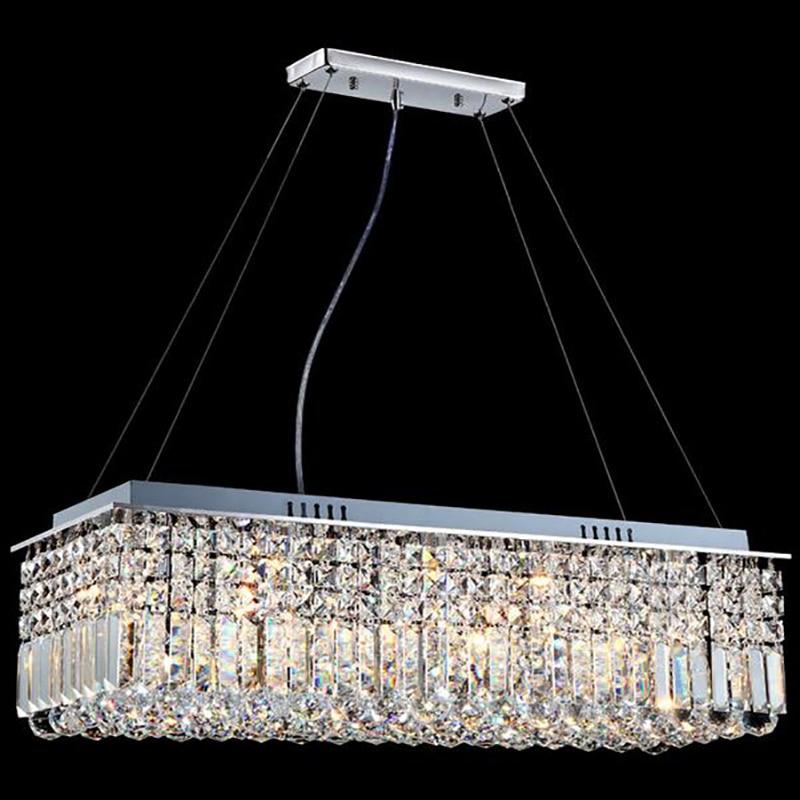 LED Modern Rectangular Crystal Chandelier Light Pendant Lamp Hanging Lamp for Living Room Dining Room Restaurant Decoration-in Ceiling Lights from Lights & Lighting