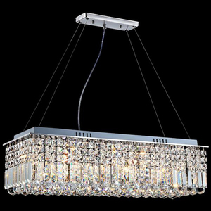 Image 1 - LED מודרני מלבני קריסטל נברשת אור תליון מנורת תליית סלון אוכל חדר מסעדת קישוט