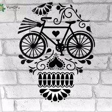 YOYOYU Vinyl Wall Decal Skulls Flora Bicycle Personality Interior Kids Room Art Home Decoration  Stickers FD473