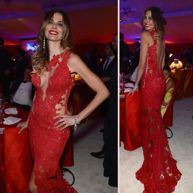 Vestidos De Festa Red Lace Mermaid Evening Dresses 2017 Elegant Sexy