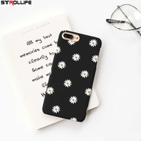 STROLLIFE Ultra thin Hard PC Phone Cases For iphone 6Plus Cartoon Lovely Daisy Floral Back Cover For iphone 6sPlus Black Capa