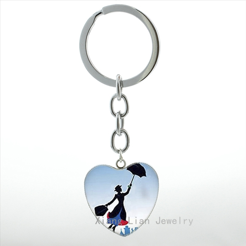 Exquisite lass Cabochon Fashion Mary Poppins keychain women vintage Mary Poppins heart pendant key chain ring wholesale HP289 ...