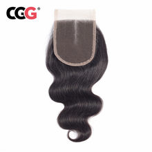 CGG Malaysian 4x4 Lace Closure Body Wave Hair Free/Middle/Three Part Non-Remy Human Hair 8-20 Inch Natural Color Hair Extensions(China)