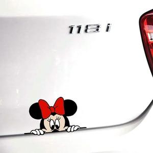 Image 5 - Bonita y divertida caricatura de Mickey y Minnie, calcomanías adhesivas para coche, espejo retrovisor del coche, parachoques, cuerpo, cabeza, estilo creativo, patrón de vinilo