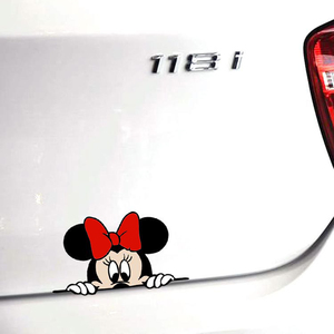 Image 5 - Funny Cute Cartoon Mickey And Minnie Car Decals Stickers Car Rear View Mirror Bumper Body Head Creative Styling Patterned Vinyl