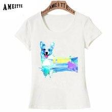 47d0d3223 Novelty Corgi Dog Look Back Watercolor T-Shirt Summer Fashion Women T Shirt  Funny Animal Print Ameitte Tops Female Casual Tees