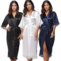 Rendas Patchwork verão Kimono Robe de Cetim Sexy Sleepwear Lingerie Chemises Mulheres Camisola Longa De Seda Vestes de Casamento da dama de honra