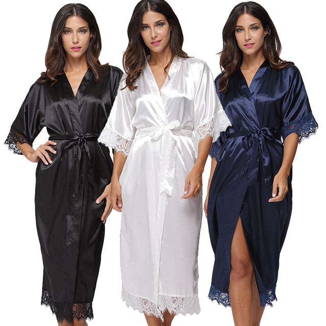 de678dacb7 Summer Lace Patchwork Satin Kimono Robe Sexy Sleepwear Lingerie Chemises Women  Silk Long Nightgown Wedding bridesmaid Robes